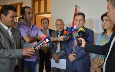 رئيس الهيئة يعقد مؤتمرا صحفيا خلال زيارته لمكتب الهيئة في محافظة السليمانية